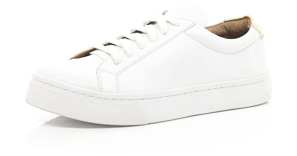White Lace Up Plimsoll Trainers - Lyst