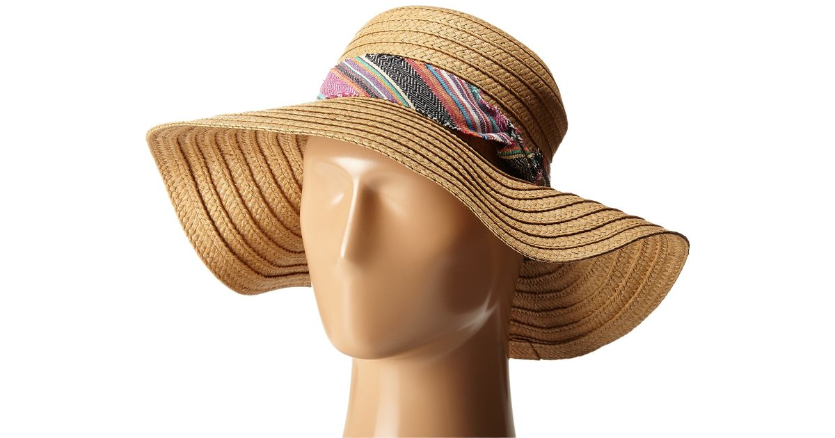 f028ceff68259 Lyst - Steve Madden Floppy Hat With Freyed Fabric Band in Natural
