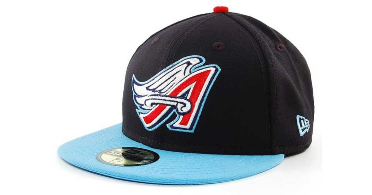 8214b9fea6ab7b ... usa lyst ktz los angeles angels of anaheim mlb cooperstown 59fifty cap  in blue for men ...