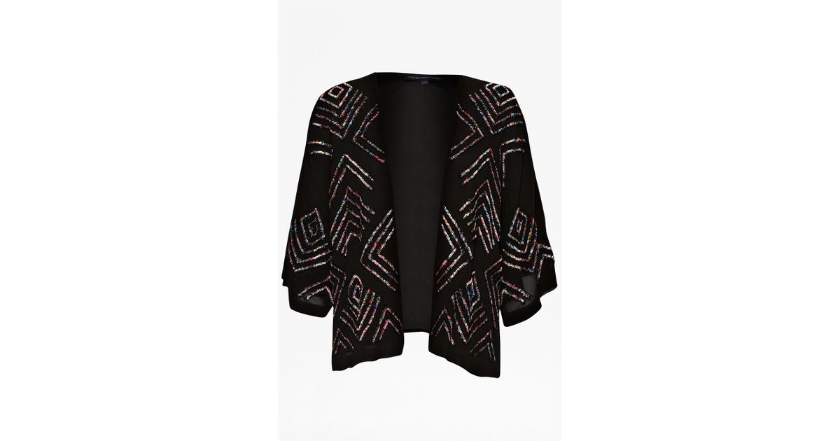 French connection Confetti Grid Sequin Kimono Jacket in Black | Lyst