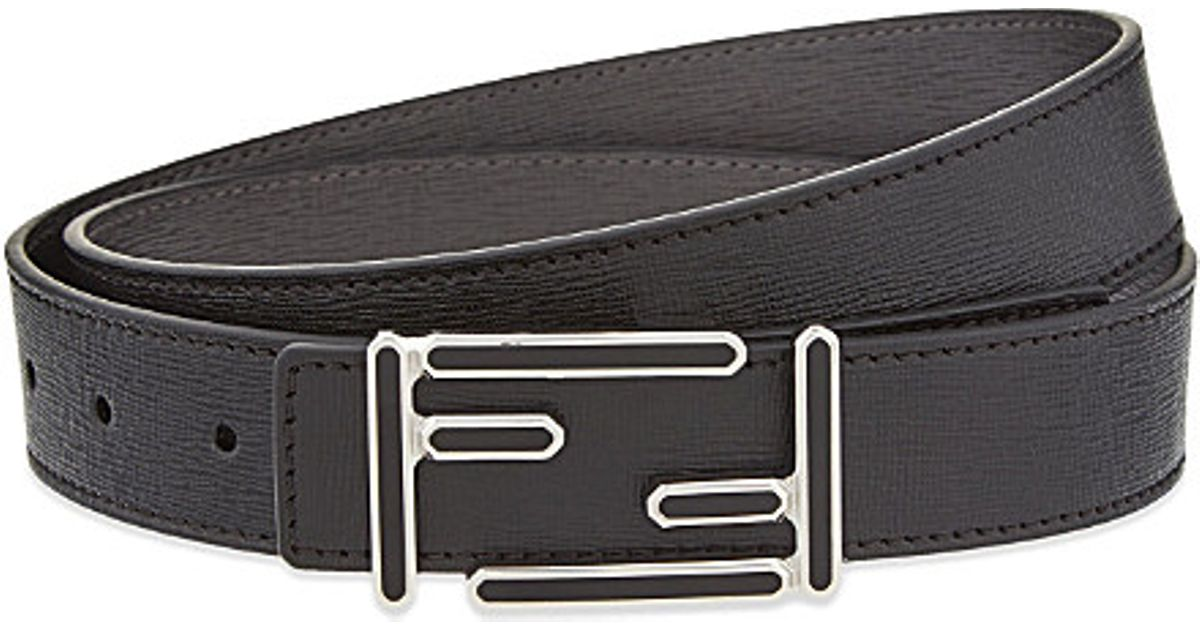 191fdcb6a0 Fendi Black Leather Logo Buckle Belt