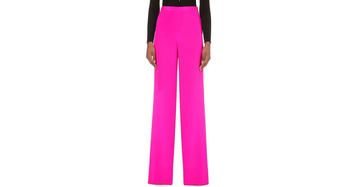 5a497213e912 Lyst - Emilio Pucci Wide-leg Silk Trousers in Pink