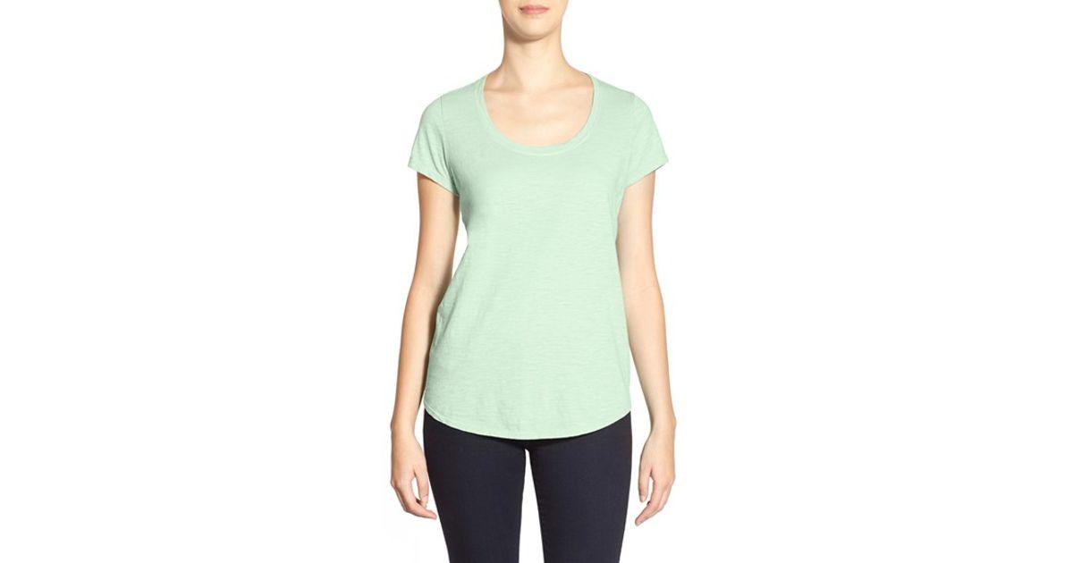 Eileen fisher organic cotton scoop neck tee in green lyst for Eileen fisher organic cotton t shirt