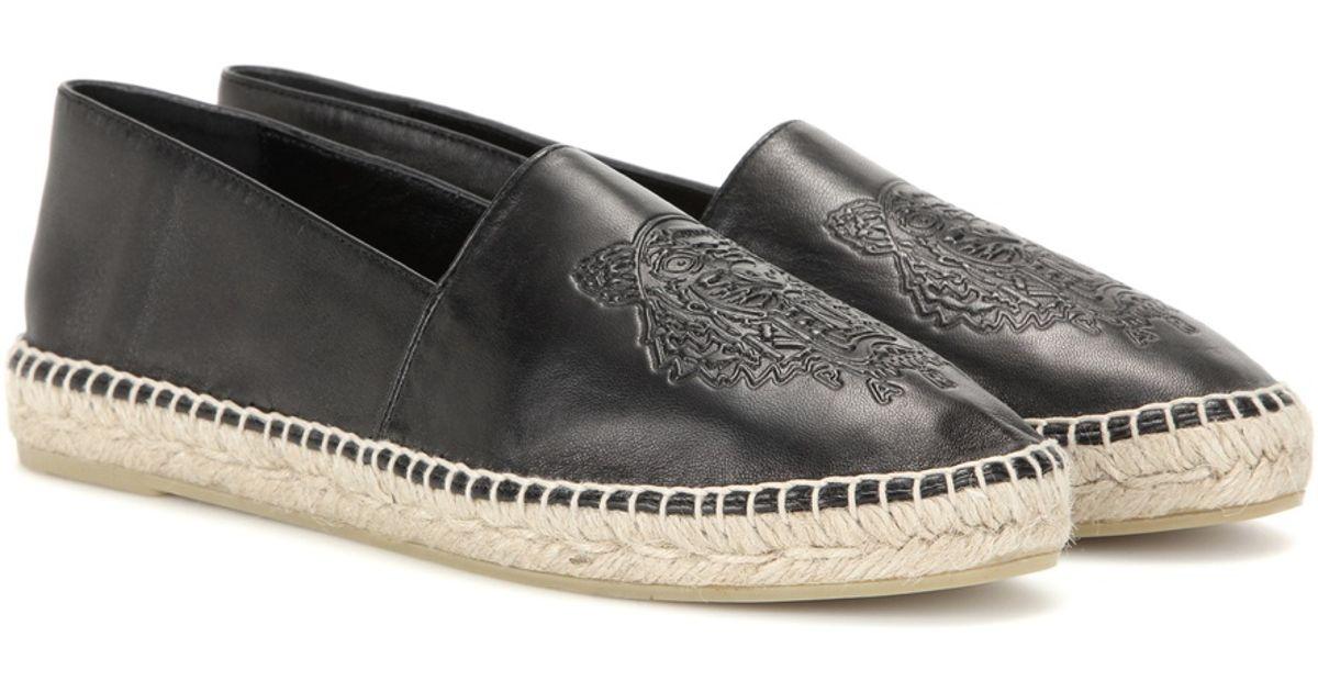 KENZO Leather Espadrilles in Black - Lyst