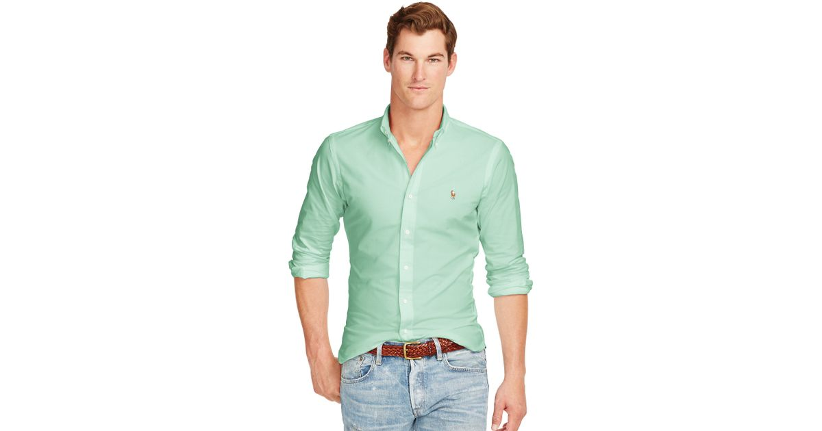 Polo ralph lauren Slim-fit Stretch Oxford Shirt in Green for Men | Lyst
