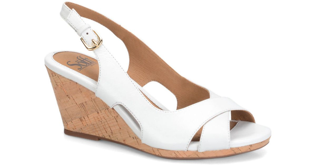 s 246 fft cailean leather wedge sandals in white lyst