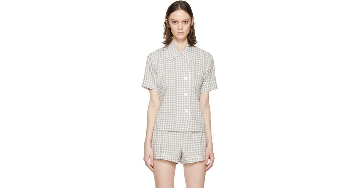 498ac529279d5 Araks Grey Gingham Pyjama Shelby Blouse in Gray - Lyst