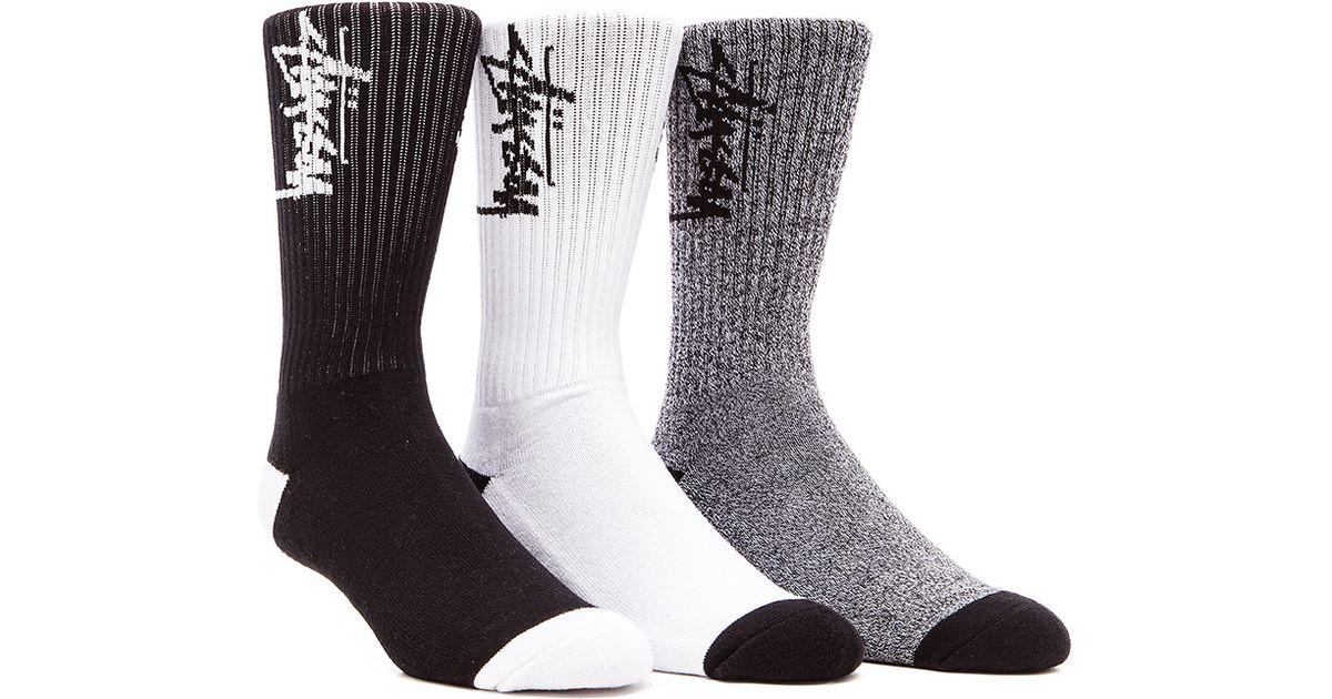 0e3dfe1a0ae Lyst - Stussy Stock 3 Pack Socks in Black for Men