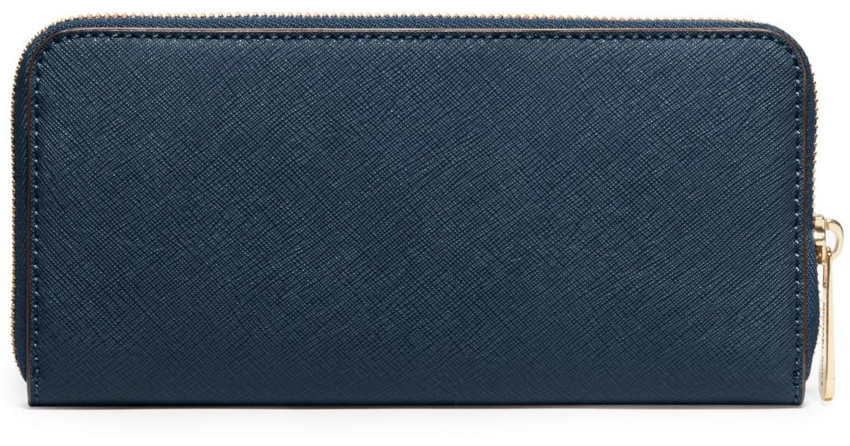 f322d7127486 ... buy lyst michael kors jet set travel saffiano leather continental wallet  in blue a1d91 f818a