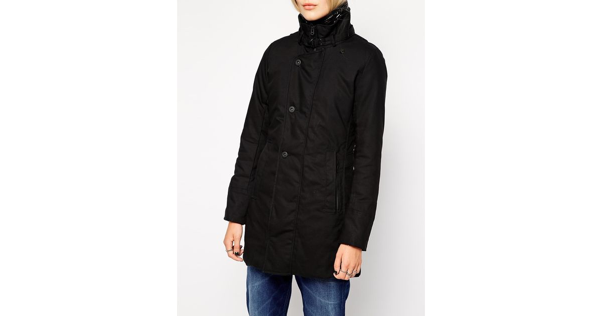 star raw g star minor trench coat in black lyst. Black Bedroom Furniture Sets. Home Design Ideas