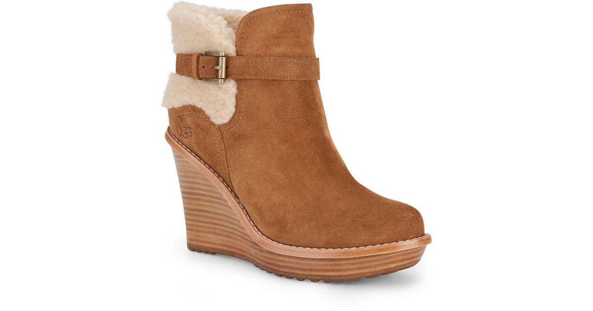 9a83d5be53d Lyst - Ugg Suede Sheepskin Wedge Ankle Boots in Brown