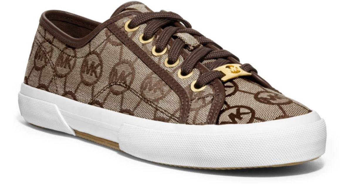 3479f4e0e9813 Lyst - Michael Kors Boerum Logo-print Canvas Sneaker in Brown