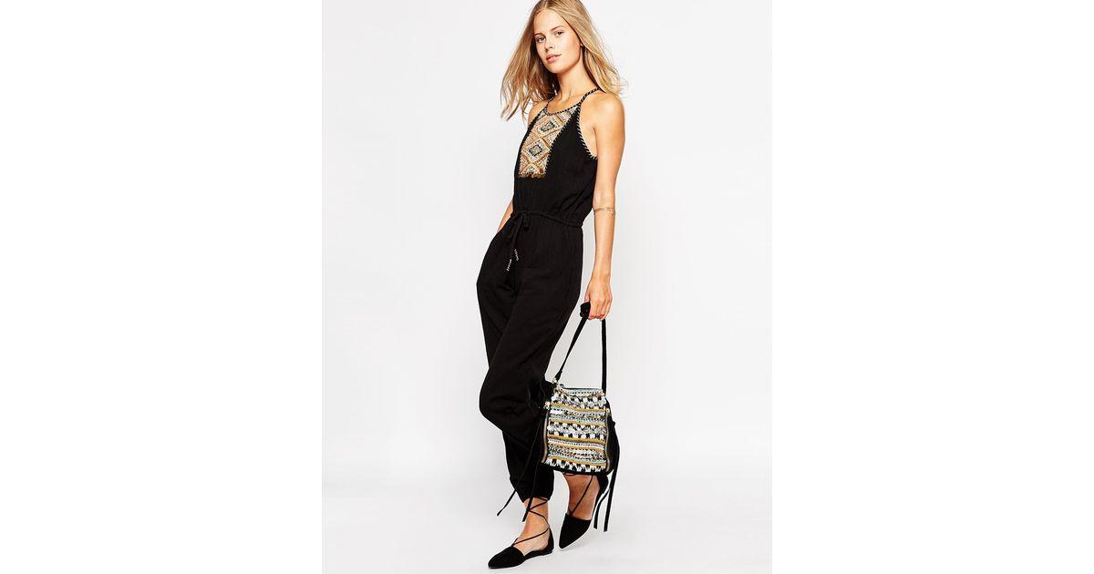 3da8a4bea374 Lyst - Greylin Sleeveless Jumpsuit With Embroidered Neckline in Black