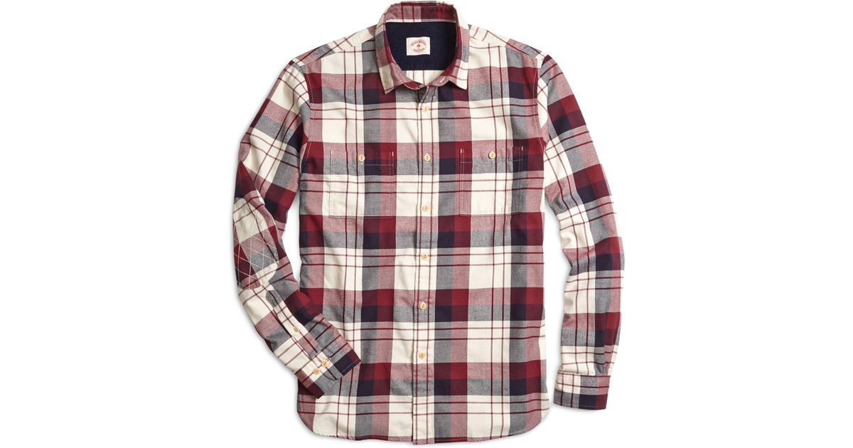 Brooks brothers plaid flannel sport shirt in red for men for Brooks brothers tall shirts