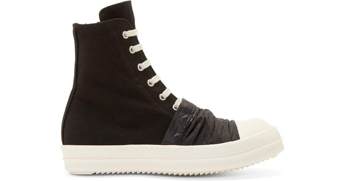 4d24ead24b94 Lyst - DRKSHDW by Rick Owens Black Canvas Draped Detail High-top Sneakers  in Black for Men