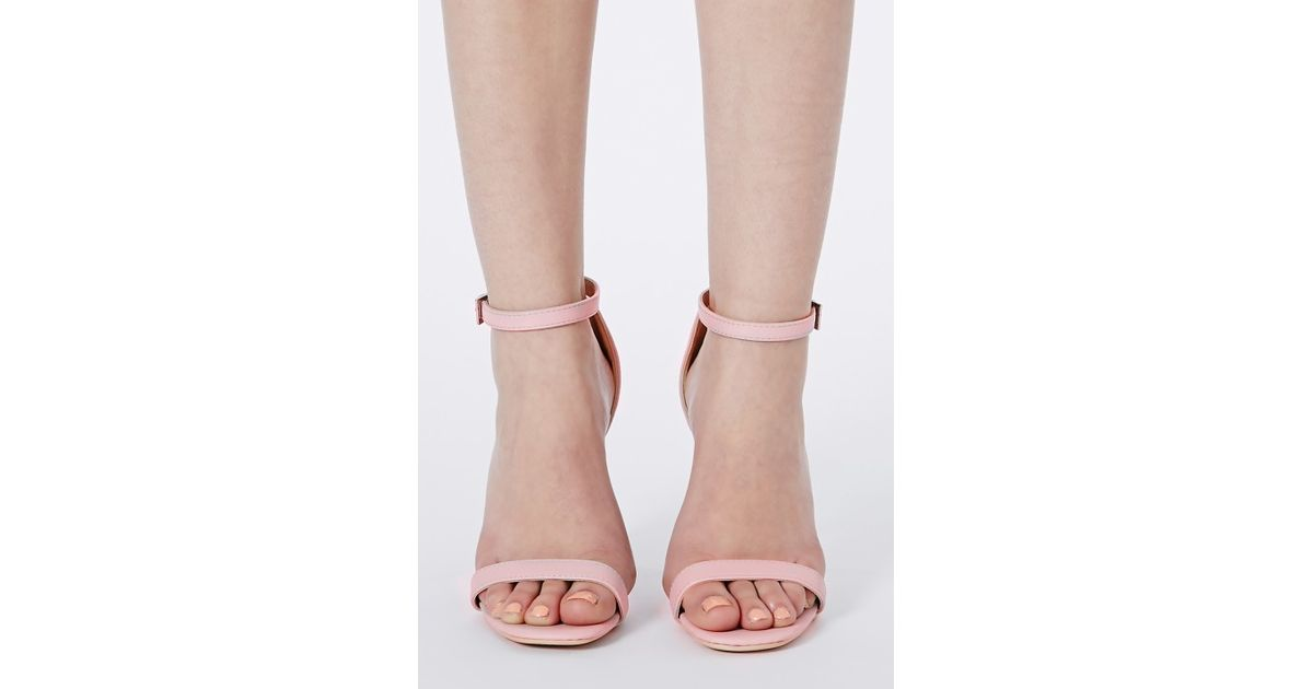 3deca2c7acf0 Lyst - Missguided Clara Pink Strappy Heeled Sandals in Pink