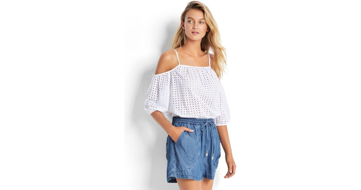 275775569e18b Seafolly Broderie Cold Shoulder Top in White - Lyst