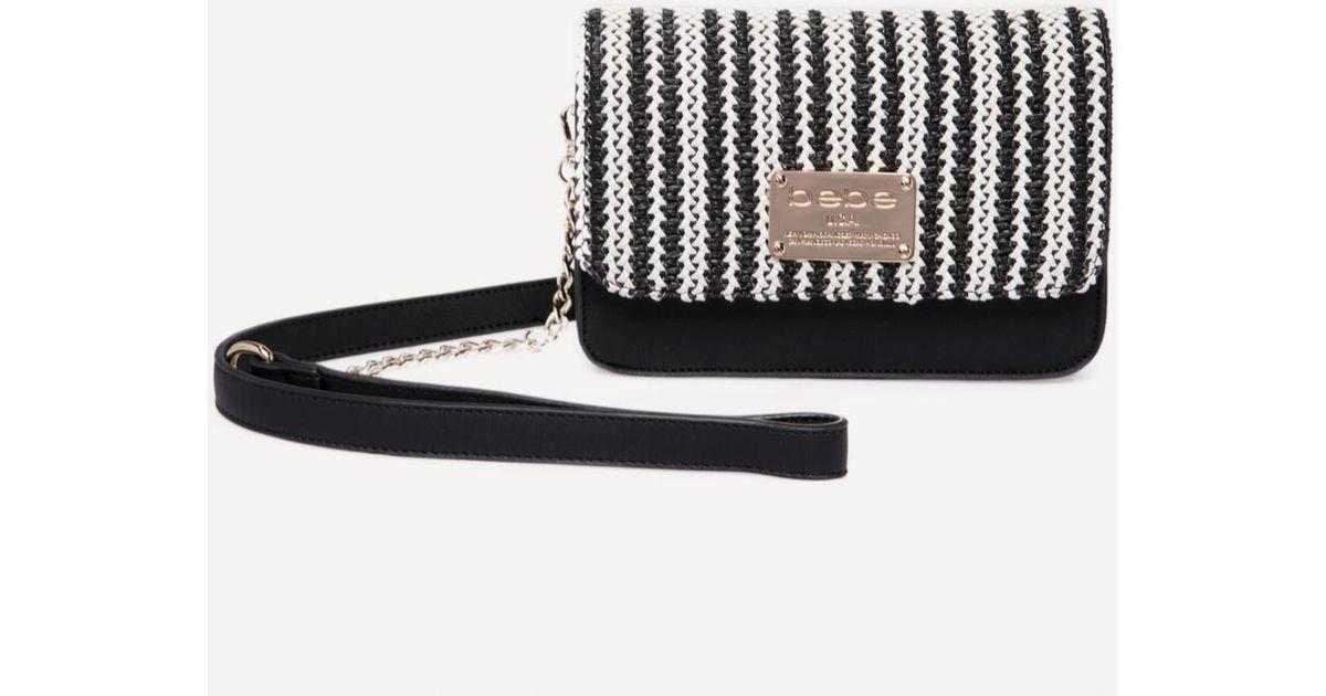 356ae4501aa8b3 Bebe Basketweave Crossbody Bag in Black - Lyst