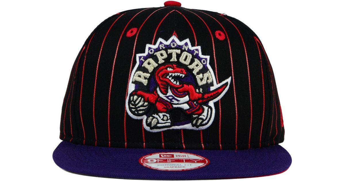 meet ea337 cb5c4 KTZ Toronto Raptors Vintage Pinstripe 9fifty Snapback Cap in Black for Men  - Lyst