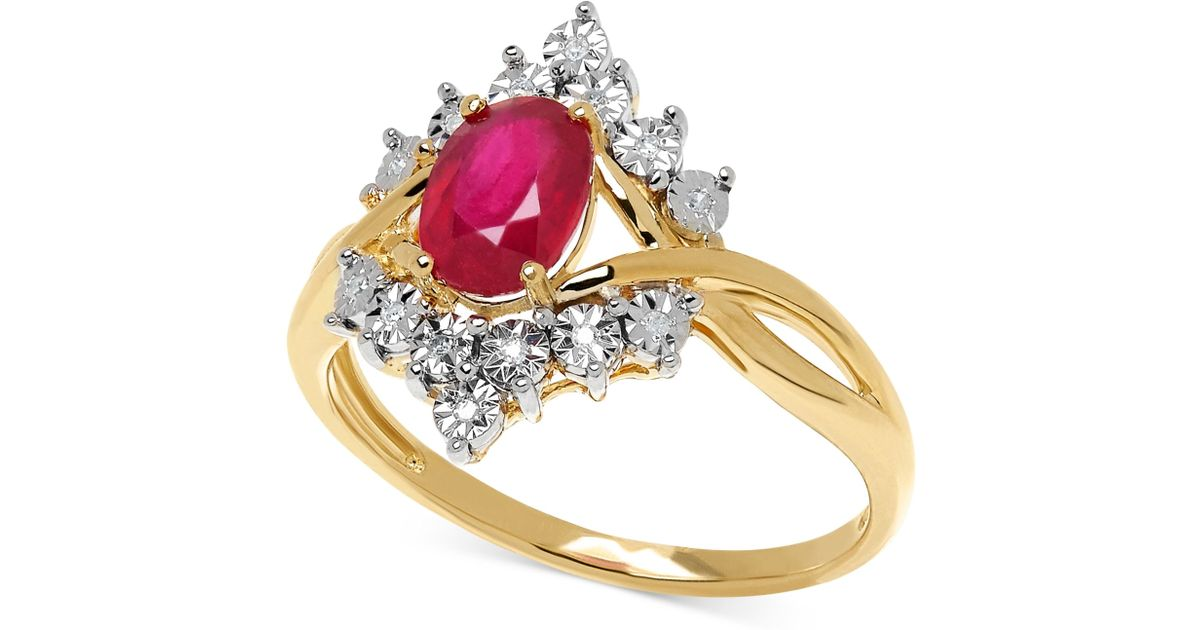 Macy s Ruby 1 1 8 Ct T w And Diamond Accent Ring In 10k Gold in Metal