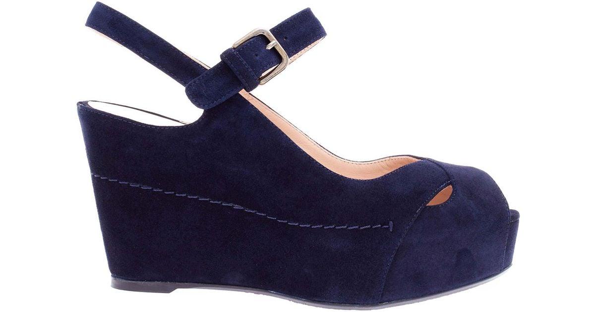 0eedb931ab96b Lyst - Stuart Weitzman Navy Turnover Suede Wedge Sandals in Blue