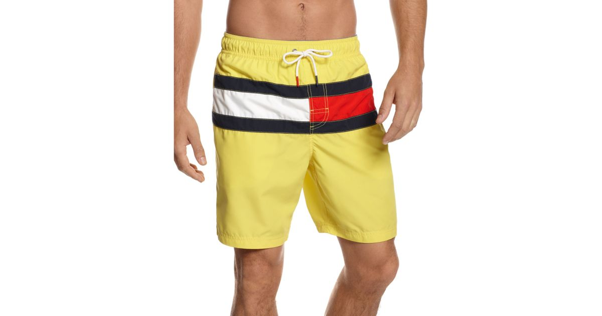 2f513095ca Tommy Hilfiger Flag It Swim Trunks in Yellow for Men - Lyst