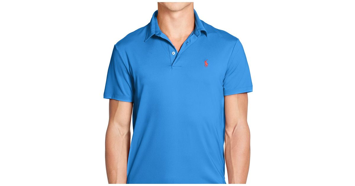 694a5def84 Polo Ralph Lauren Blue Performance Lisle Polo Shirt for men