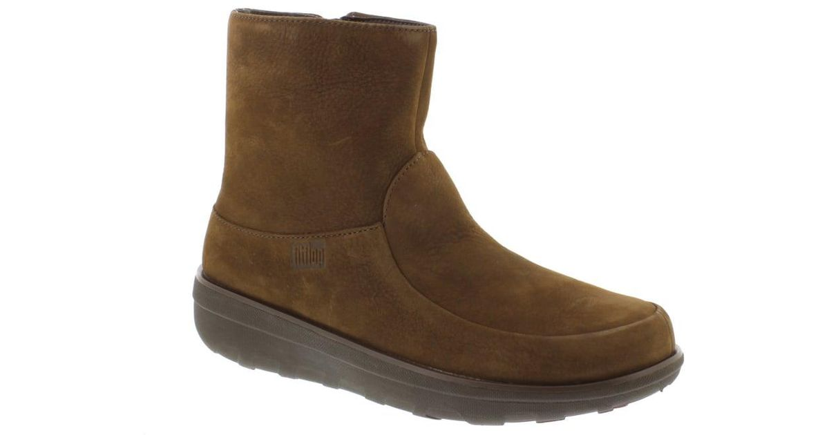 4e67576cb Lyst - Fitflop Loaff Shorty Zip Boot in Brown