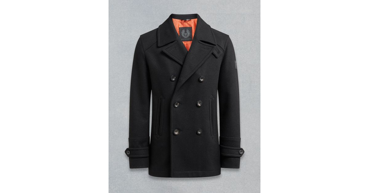 clear and distinctive buy sale fashionable patterns Belstaff Wool Durdan Peacoat in Black for Men - Lyst