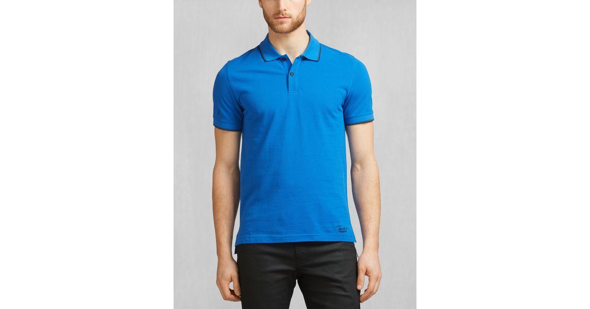 Belstaff james hunt rayside polo in cobalt blue cotton for Cobalt blue polo shirt
