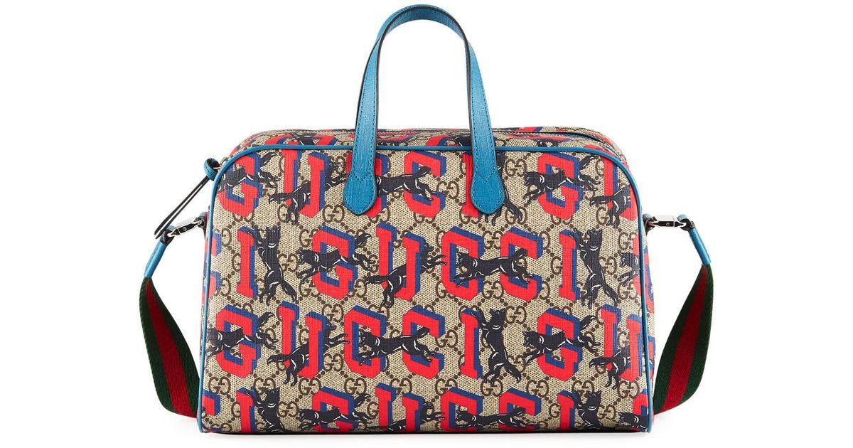 5ac74aad208 Lyst - Gucci Kids  Wolves-print Gg Supreme Shoulder Bag in Blue