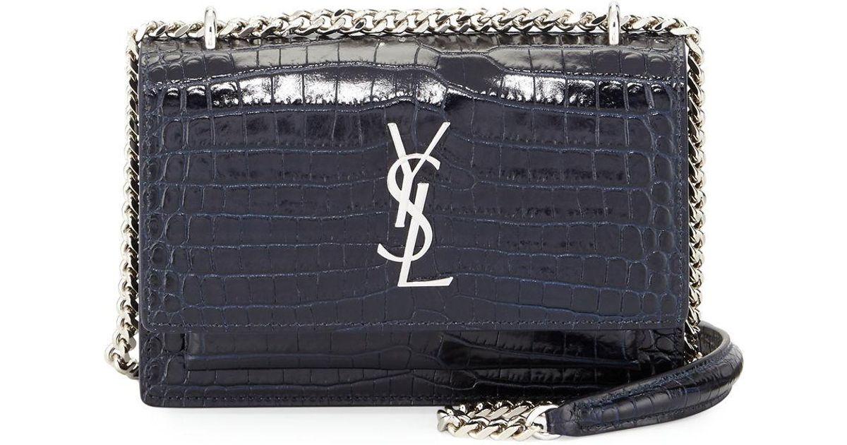 f344451b84 Saint Laurent Blue Monogram Sunset Crocodile-embossed Wallet On Chain