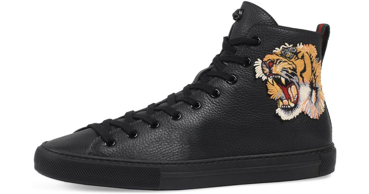 69bb0925647 Lyst - Gucci Men s Major High-top Sneakers W tiger Patch in Black for Men