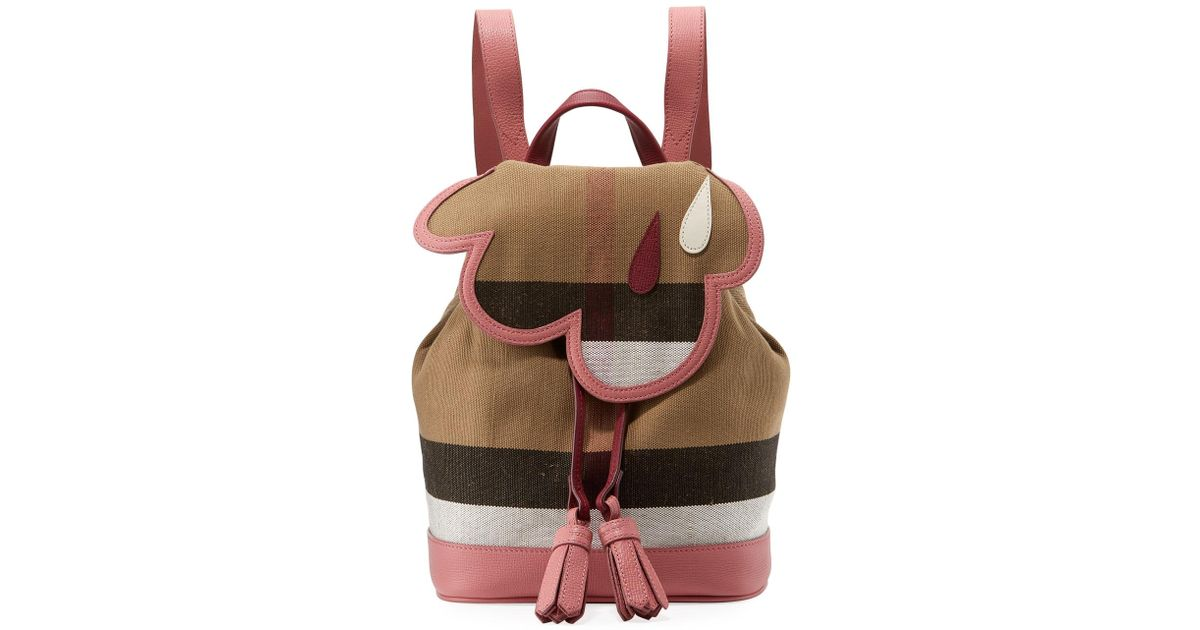 Lyst Burberry Kids Cloud Check Backpack In Pink