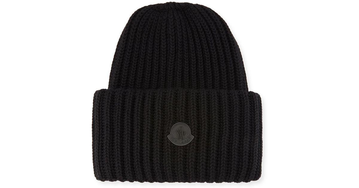 fe3970a8b47 Lyst - Moncler Men s Oversized Ribbed Logo Beanie Hat in Black for Men
