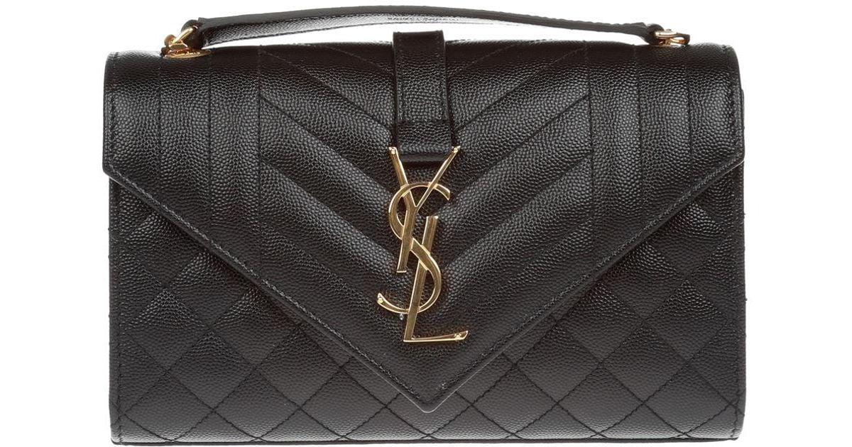 061d4b74ca Saint Laurent Monogram Ysl Envelope Small Chain Shoulder Bag - Golden  Hardware in Black - Lyst