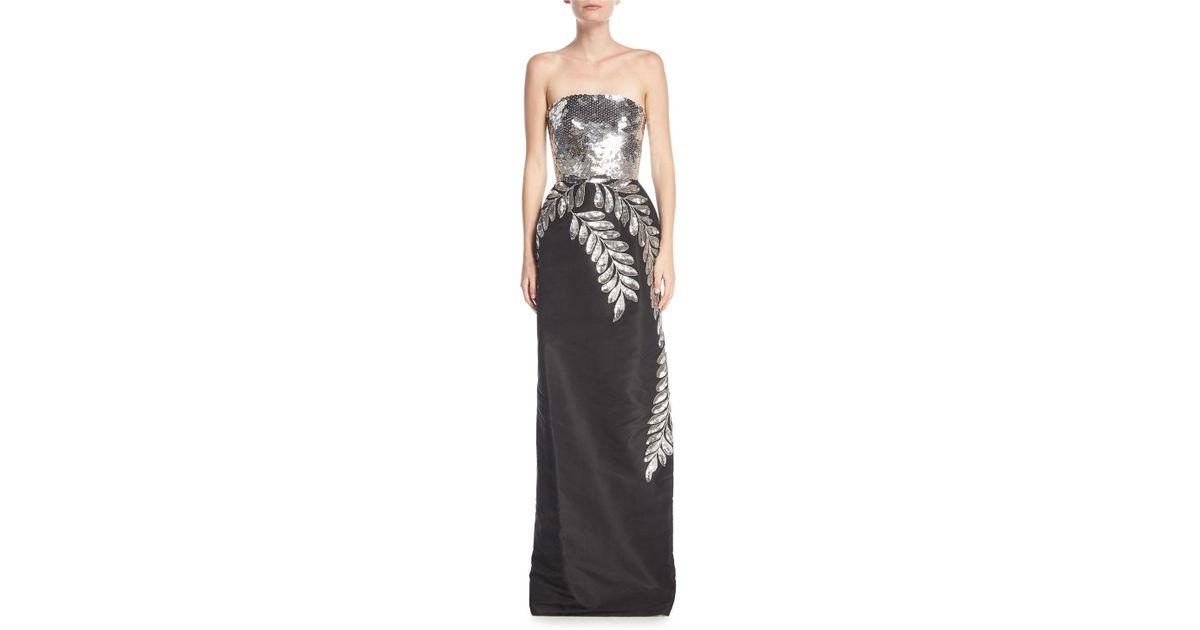 475478047556 Oscar de la Renta Strapless Sequined Leaf Column Gown in Black - Lyst