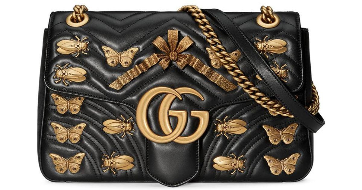 62a47995507c Gucci Gg Marmont 2.0 Medium Insect Shoulder Bag in Black - Lyst
