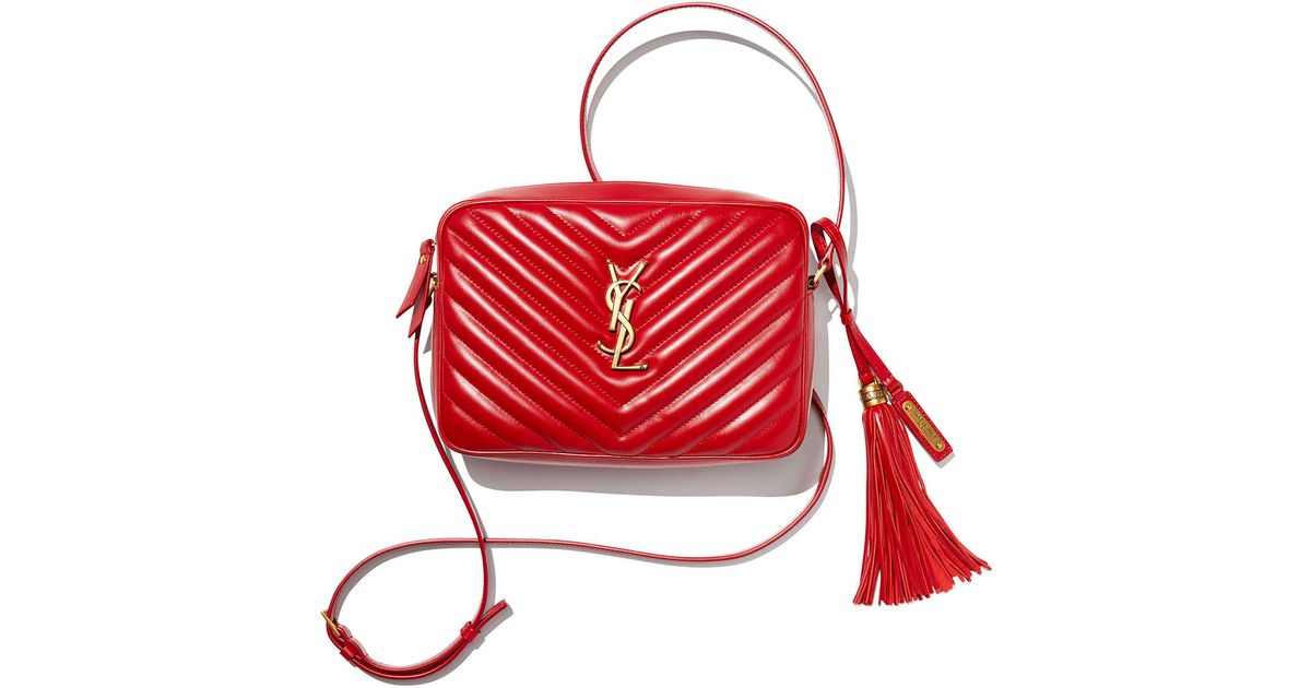 fb8b82ce44ab Lyst - Saint Laurent Loulou Monogram Ysl Medium Chevron Quilted Leather  Camera Shoulder Bag in Red