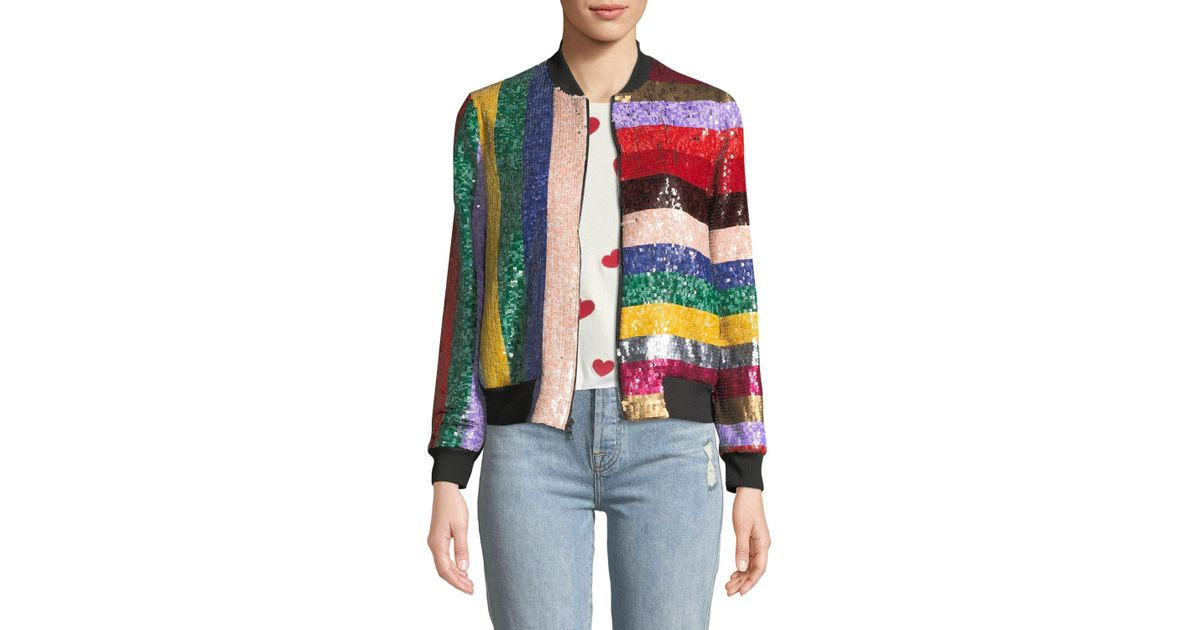 7689ed173 Alice + Olivia Multicolor Lonnie Zip-front Sequined Leather Bomber Jacket