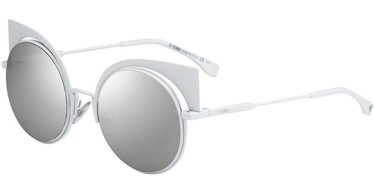 f8e505194d Lyst - Fendi Runway Mirrored Cutout Sunglasses in White