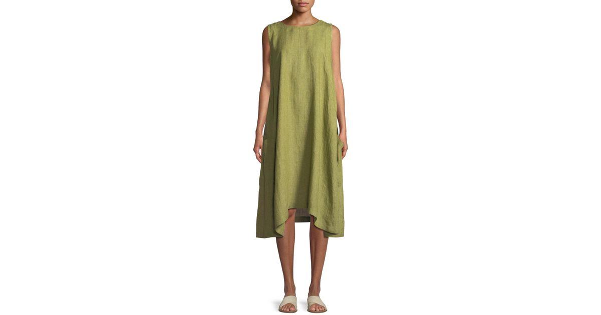 63eda4b893f540 Lyst - Eskandar Pleated Sleeveless Linen Dress With Pockets in Green
