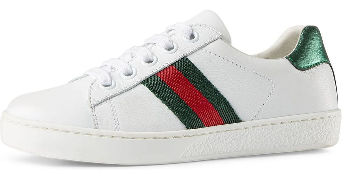e05058421 Gucci New Ace Leather Tennis Shoe in White - Lyst