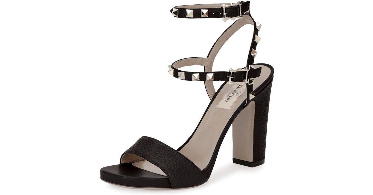 15838311b5af Lyst - Valentino Rockstud 100mm Chunky-heel Sandal in Black