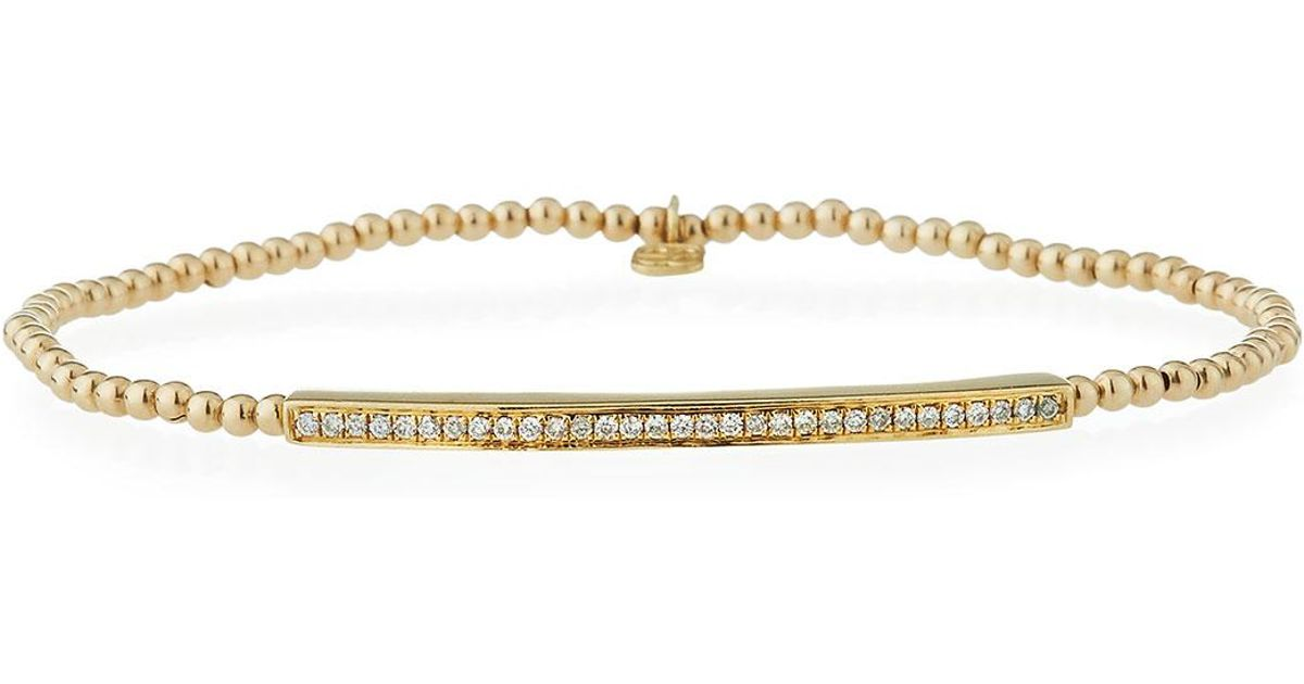 Sydney Evan 2mm Beaded Bar Spacer Bracelet with Diamonds 5QEi4eawVK