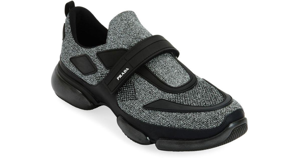 cd2de5fa Prada Black Men's Cloudbust Runner Sneakers With Single Grip-strap for men