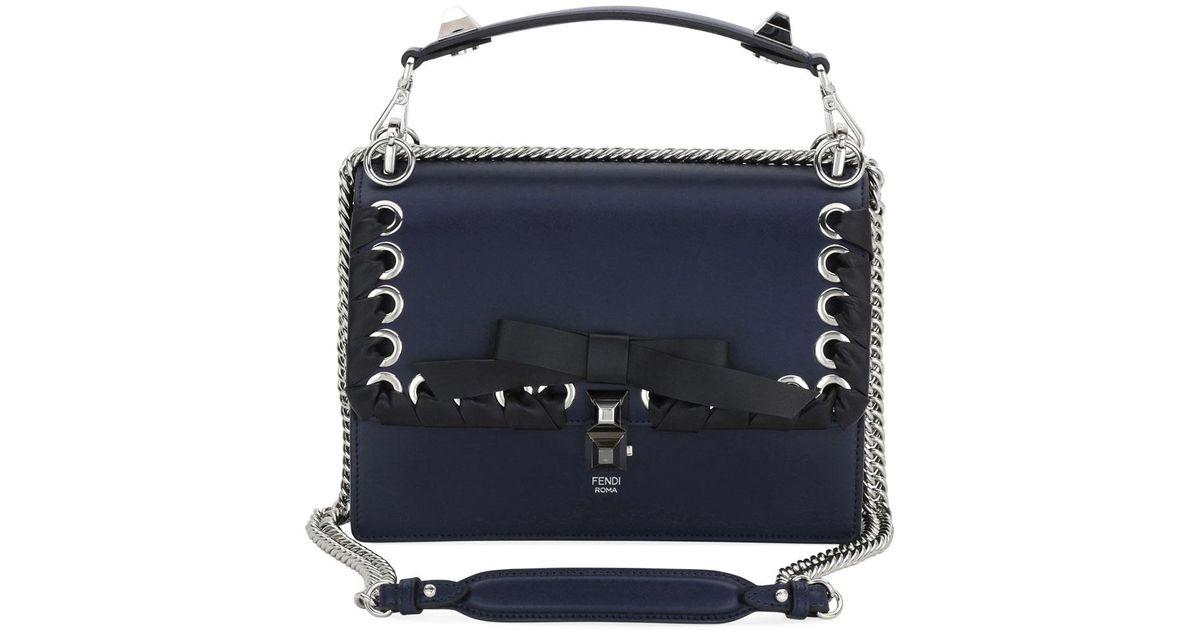 89c291235c0f Fendi Kan I Regular Calf Liberty Shoulder Bag in Blue - Lyst