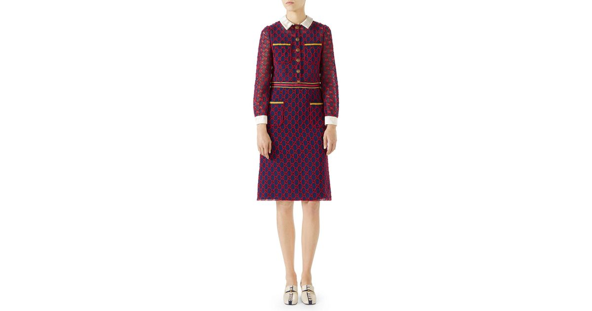 27c33b0d69b Lyst - Gucci Long-sleeve Gg Macrame Dress W/ Satin Collar And Cuffs in Red