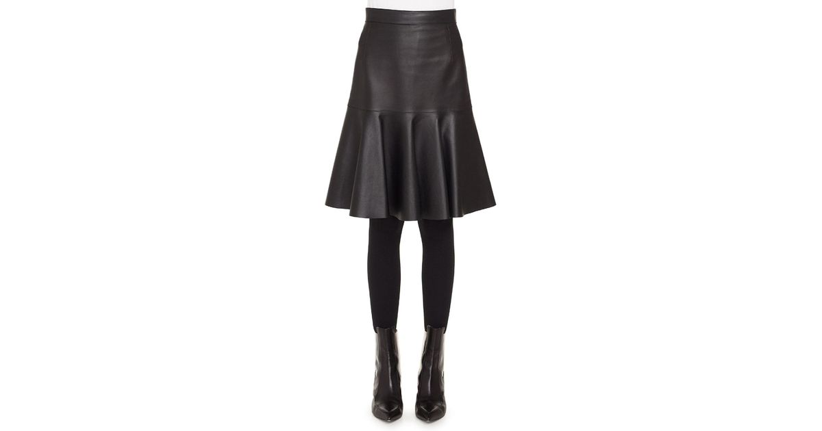 e894b319f Akris Punto Ruffled Hem Leather Skirt in Black - Save 60% - Lyst
