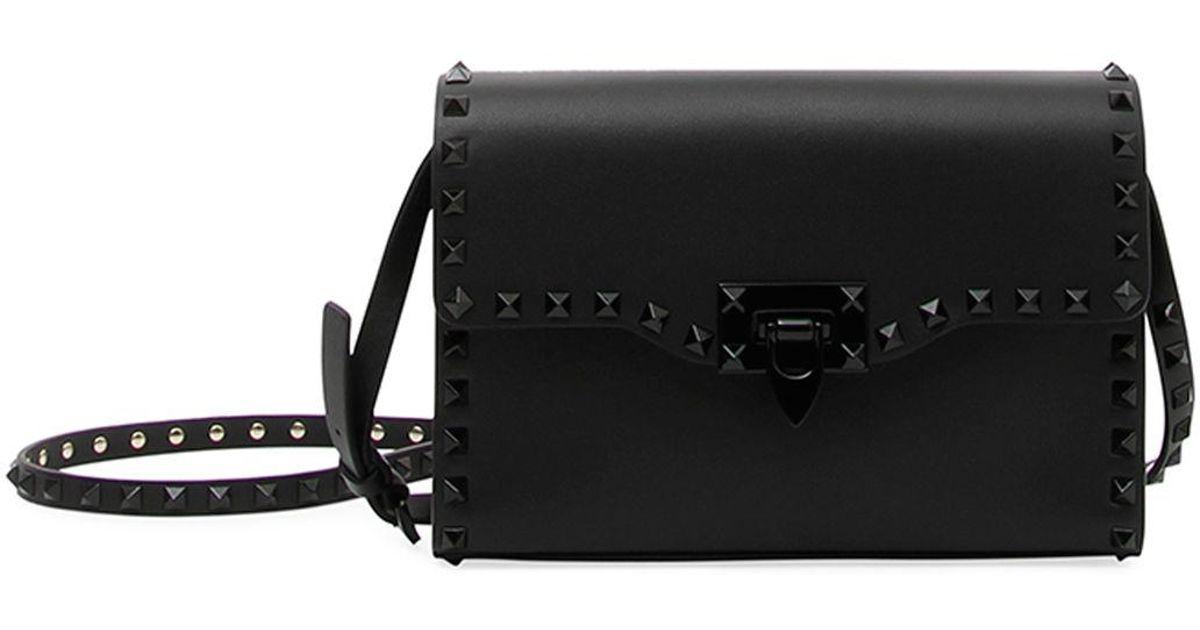 4746286bc Valentino Black Monochrome Rockstud Medium Shoulder Bag
